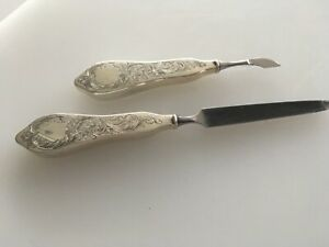 Antique Floral Matching Sterling Silver Handle Manicure Tools