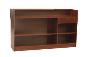 Cherry Wood Laminate Finish Ledge Top Register Counter With Rear Storage 72