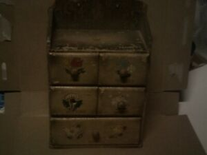 Antique 1800s Wood Primitive Sewing Chest W Hand Painted Flowers Buttons Pins Et
