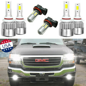 6x 6000k Led Headlight Fog Light Bulbs For Gmc Sierra 1500 2500 Hd 2001 2006