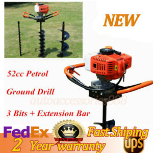 52cc Gas Powered Post Hole Digger Auger 4 6 8 Drilling Bits Fence shrubs