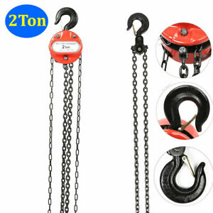 2 Ton Chain Hoist Winch Manual Lift System Rigging Puller Block Fall With Hook