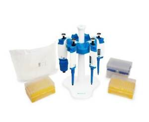 Micropipette Complete Pipette Starter Kit Includes Four Pipettes Tips And Stand
