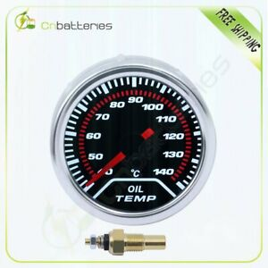 2 52mm Car Universal Smoke Lens Led Pointer Oil Temp Temperature Gauge Meter
