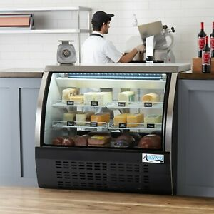 47 Black Floor Model Refrigerated Deli Seafood Bakery Meat Pastry Display Case