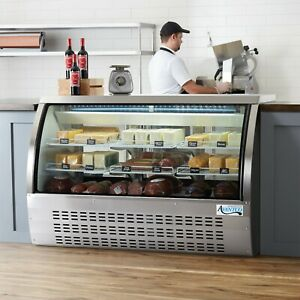 64 Silver Floor Model Refrigerated Deli Seafood Bakery Meat Pastry Display Case