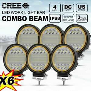 6x 4 Round Led Light Pods Combo Fog Driving Off road Roof Bar Bumper For Jeep