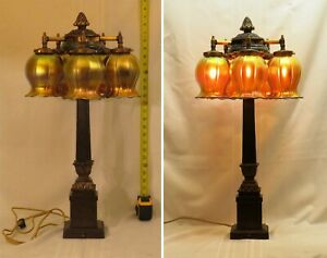 Antique Table Lamp With A Cluster Of 5 Signed Steuben Art Glass Shades