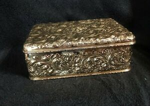 Howard Co Sterling Silver Humidor For Cigars New York 1890 Art Deco Design