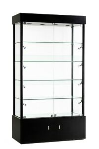 Black Tower Rectangular Led Showcase With Bottom Storage And Lock 73 Inch Tall