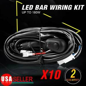 10x Remote Control Wiring Harness Kit Switch Relay Led Fog Light Bar Kit 12v 40a