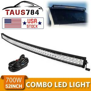 Curved 52inch 700w Led Light Bar Flood Spot Roof Driving Truck Rzr Suv Atv 50