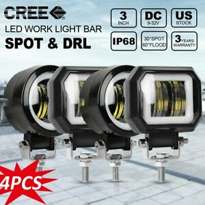 4x 3inch Led Work Light 80w Round Square Spot Lamp Offroad For Ford Jeep 4wd
