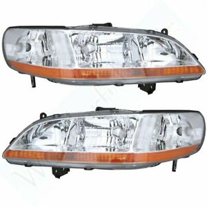 Pair Set Of Composite Headlights Headlamps For Car 1998 2000 Honda Accord