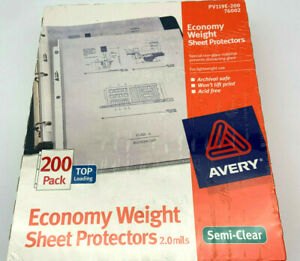 Avery Economy Weight Sheet Protectors Top Load 200 Pack Pv119e 200 76002 New