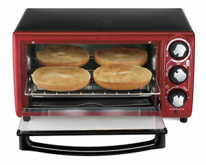 Toaster Oven Hamilton Beach Stainless Steel 4 Slice Counter top Cooking Red