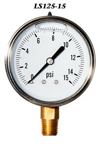 New Hydraulic Liquid Filled Pressure Gauge 0 15 Psi 2 5 Face 1 4 Lm