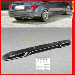 Mb W205 Sedan Only C63 Style Rear Bumper Diffuser Chrome Tailpipe Luxury Package