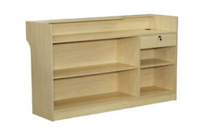 Maple Wood Pressed Ledge Top Register Counter With Lockable Rear Drawer 72