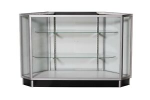 Aluminum Framed All Glass Corner Extra Vision Display Showcase With Rear Doors