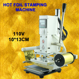 110v Manual Hot Foil Stamping Pressure Machine 10 13cm Leather Gold Embossing