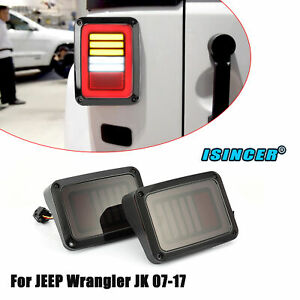 Combo For Jeep Wrangler Jk 07 17 Dynamic Led Tail Lights Brake Turn Signal Smoke