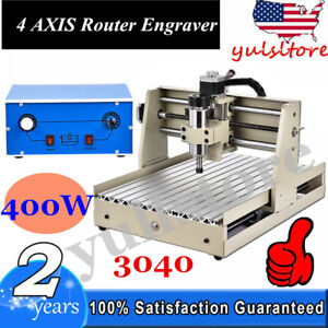 4 Axis Cnc Router 3040 Engraving Milling Machine 1204 Trapezoidal Screws 400w