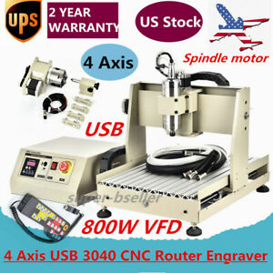 4 Axis Usb 3040 Cnc Router Engraver 3d Engraving Drill Mill Machine 800w Vfd Rc
