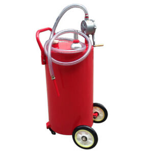 30 35 Gallon Gasoline Gas Storage Caddy Diesel Fuel Transfer Tank Rotary Pump Ho