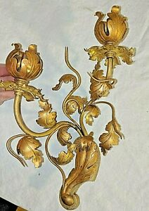 Gorgeous Vtg Antique French Bronze Ormolu Candelabra Wall Sconce Made In France