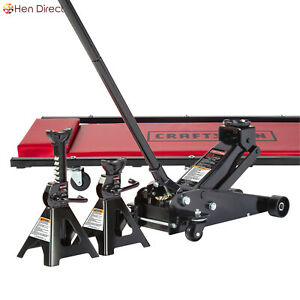 Under Your Car Kit W 3 Ton Lift Capacity Floor Jack 2 Jack Stands 36 Creeper