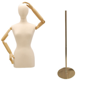 Adult Female Mannequin Dress Form Torso With Flexible Arms Round Metal Base