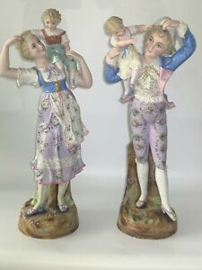 26 Antique French Pair Of Porcelain Bisque Couple And Baby S