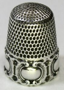 Antique Simons Brothers Sterling Silver Thimble Repousse Medallion C1890s