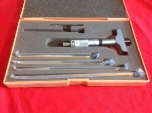 Mitutoyo 129 128 Depth Micrometer Set 0 6 Condition Is Used Japan