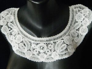 Antique Brussels Collar Old Princesses Tape Lace Floral Design End 19c