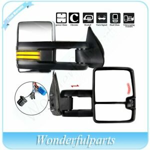 For 2003 07 Chevy Gmc Chrome Power Heated Dynamic Led Signal Towing Mirrors