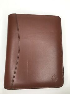 Franklin Covey Brown Leather Zip Around 6 ring Planner Compact Some Inserts