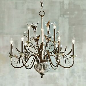 French Antique Bronze Gold Metal Leaves Crystals Globe 11 Light Chandelier 32 W