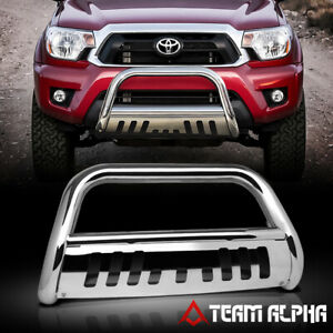 Fits 2005 2015 Toyota Tacoma Bull Bar Stainless Steel 3 grille Push Bumper Guard