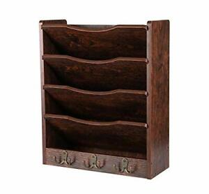 Pag 5 tier Wood Hanging Wall File Holder Organizer Magazine Retro Brown