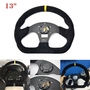 13 Universal Car Sport Steering Wheel Tuning Racing Flat Suede Leather Drift
