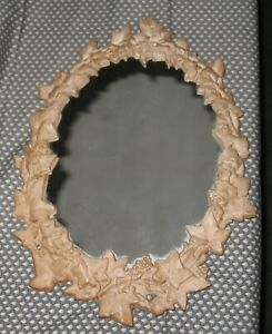 Heavy Vintage Antiques Cast Metal Leaf Pattern Frame Mirror 17 Tall 15 Wide