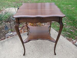 Antique Vintage 30 Tall Tiger Oak Two Tier Side End Accent Table