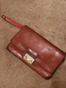 Vintage Bond Street Ltd Cognac Leather Bi fold Clutch Folio W strap Multi Pocket