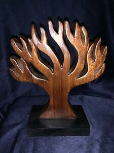 Wooden Tree Base Hand Carved Sculpture Beautiful Wood Sits On Table 9 75