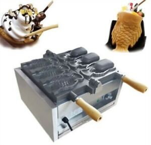 Three Holes Fish Type Waffle Machine electric Open Mouth Taiyaki Maker Fryer Cu