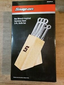 New Snap On Tools Wrench Style Kitchen Knife Set Stainless Steel Wood Block 5pc