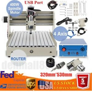 Usb 4 Axis 400w 3040 Cnc Router Engraver Drilling Milling Machine Cutting Woods