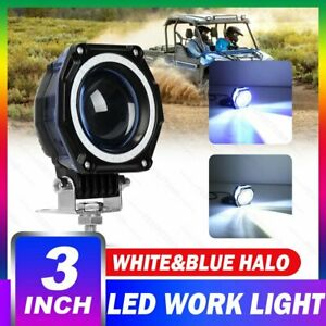 3 Inch Led Work Light Bar Hi Lo Blue Halo Driving Fog Lamp Car Offroad 4wd 12v